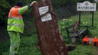 Restored milestone on the A423 Banbury to Coventry road