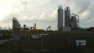 Batching plant by Guernsey Airport