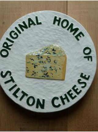 Plaque saying Original Home of Stilton Cheese