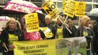 Protesters in Burnley