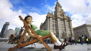 Girl giant at Liverpool Pier Head