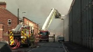 Knitwear factory fire in Leicester