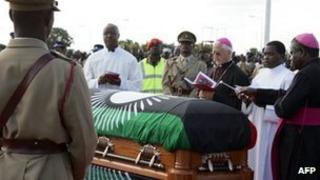 The coffin of Malawi's ex-leader Bingu wa Mutharika
