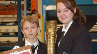 Jamie and Chloe with the Olympic torch