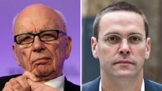 Media mogul Rupert Murdoch and son James Murdoch