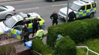 Armed officers in Seamer Road