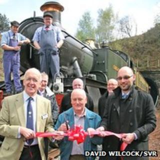 Front left to right - SVR (Holdings) Co. chairman Nick Paul, volunteer Bob Clift and SVR general manager Nick Ralls