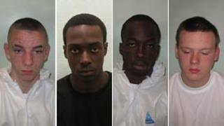 Ruairi Bicknell, Akeem Salako, Stefan Morgan and Ben Wiles (left to right) were detained