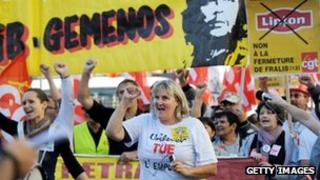 Workers in France protest against austerity measures