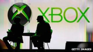 Steve Ballmer silhouette against Xbox backdrop