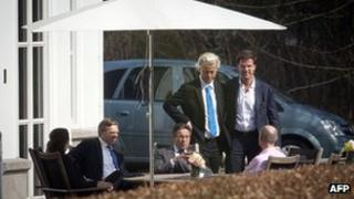 Dutch coalition talks at Catshuis, The Hague, 28 Mar 12