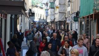 Shoppers in St Helier
