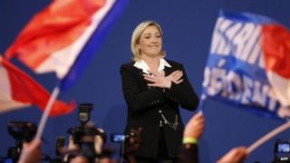 Marine Le Pen celebrating on 22 April