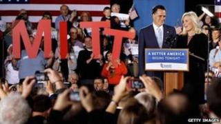 Republican presidential candidate Mitt Romney and his wife Ann address a campaign rally