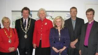 Dignitaries including Lady Mary Holborow, President of Spectrum (3rd from left) attended the opening of the Pearl Centre