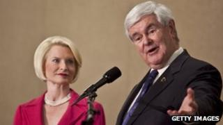 Newt Gingrich with his wife, Callista Gingrich, in Concord, North Carolina, on 24 April 2012