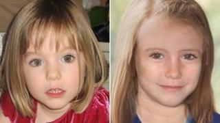 Madeleine McCann when she disappeared and how she might look now