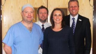 Rachel Williams with her surgeon Mark Mullins, Mike Bond and Dougie Russell of Morriston Hospital