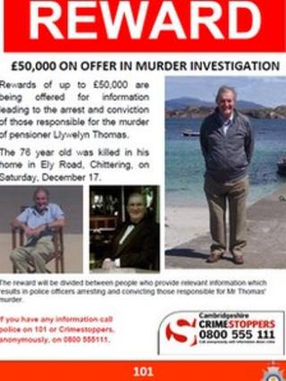 Reward poster for information about murder of Llywelyn Thomas