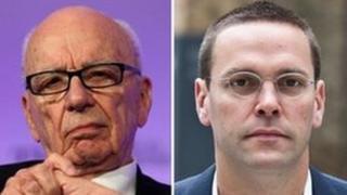 Media mogul Rupert Murdoch and son James Murdoch