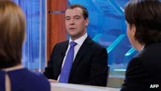 Dmitry Medvedev in TV studio