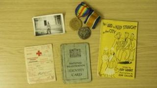 British soldier medals and ID cards