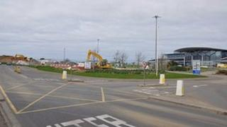 Road junction at the entrance to Guernsey Airport