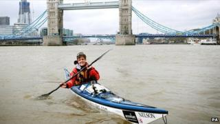 Sarah Outen sets off from Tower Bridge, London on 1 April 2011