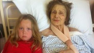 Olivia Rumsey with her grandmother Donna Rumsey at West Suffolk Hospital