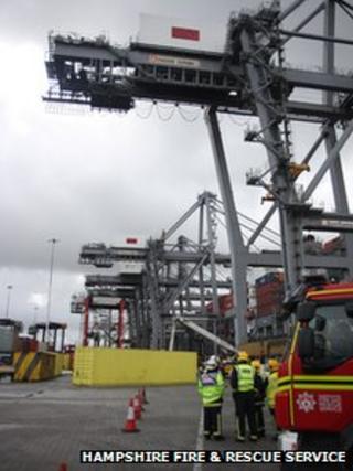 Dock crane rescue
