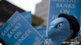 Protesters outside Barclays AGM