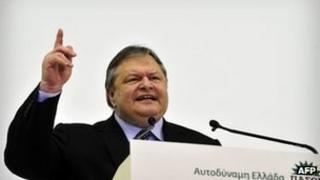 Greek Pasok leader Evangelos Venizelos at an election rally