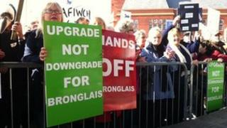 Bronglais hospital campaigners at the Senedd in Cardiff Bay
