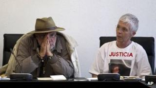 Javier Sicilia and Teresa Carmona attend a meeting with senators in Mexico City on 23 April 2012