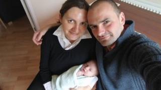 Beata and Andrzej Kolon and daughter Leokadia