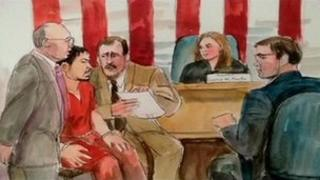 Court sketch showing shacked One Goh in court