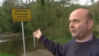 Simon Hiscock at the ford crossing