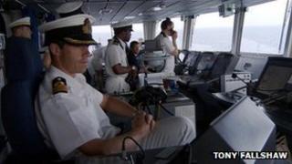 Capt Will Warrender on the bridge of HMS Dauntless