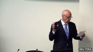 Rupert Murdoch being sworn in at the Leveson Inquiry
