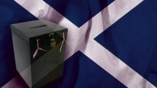 ballot box against saltire