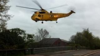 RAF Sea King helicopter at the River Don at Sprotborough, South Yorkshire