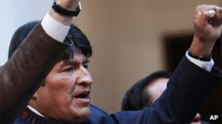 Bolivian President Evo Morales sings the national anthem on May Day 2012