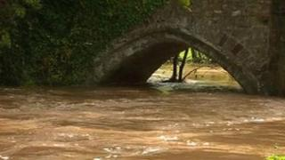 High levels of water on the River Severn