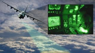 Aircraft above clouds and an illustration of what could be see with the new technology