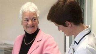 Kathleen Williams with nurse