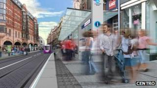 Artists impression of new Metro stop in Birmingham