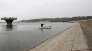 Drought-hit Bewl Reservoir in Kent