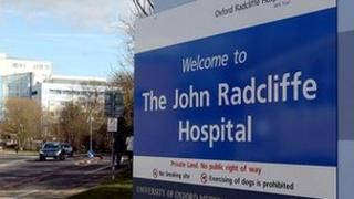 The John Radcliffe Hospital sign