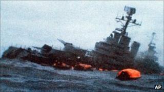Argentine cruiser General Belgrano sinking, 2 May 1982