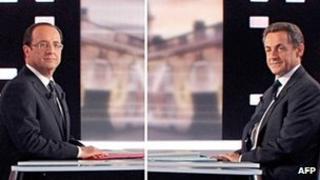 Francois Hollande and Nicolas Sarkozy. Photo: 2 May 2012